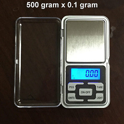 Digital Scale 500g x 0.1g Jewelry Gold Silver Coin Grain Gram Pocket Size Herb