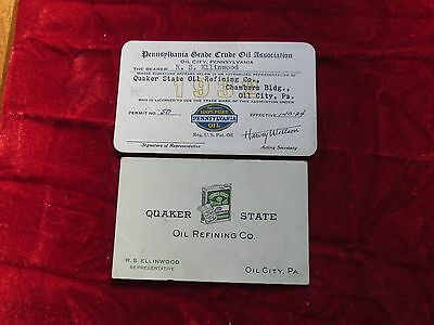 Quaker state Oil Refining Business card + 1924 Penn Grade Crude oil Assn card
