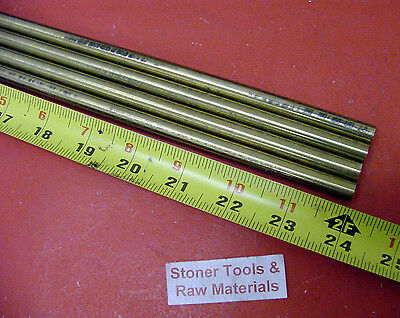 "4 Pieces 3/8"" C360 BRASS SOLID ROUND ROD 24"" long New Lathe Bar Stock .375"""