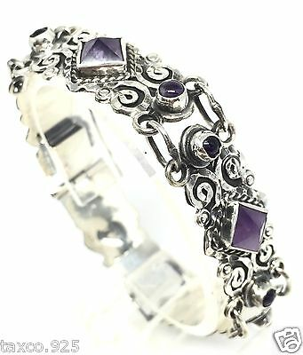 Vintage Style Taxco Mexican 925 Sterling Silver Amethyst Scroll Bracelet Mexico