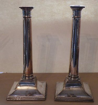 sbx PAIR 18TH CENTURY EARLY SHEFFIELD SILVERPLATE CANDLESTICKS, neoclassical