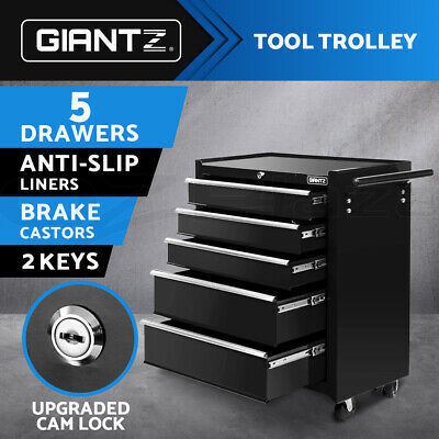 Giantz 5 Drawers Tool Box Chest Cabinet Trolley Boxes Garage Storage Toolbox BK