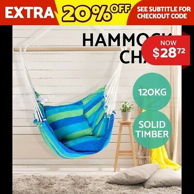 Deluxe Hanging Hammock Chair Swing INCLUDES Soft Cushions Outdoor Camping Frame