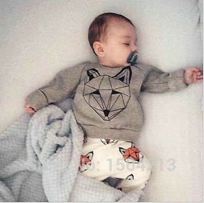 2PCS Toddler baby Boys Cotton Tops + pants outfits & Sets kid Boys Clothing Wolf