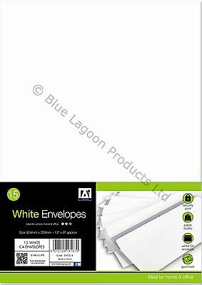 15 x A4 Gummed White Envelopes Home & Office Stationary 324mm x 229mm Stationery
