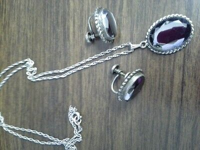 Vintage Danecraft Sterling Silver Screw Back Earrings & Necklace Matching Set