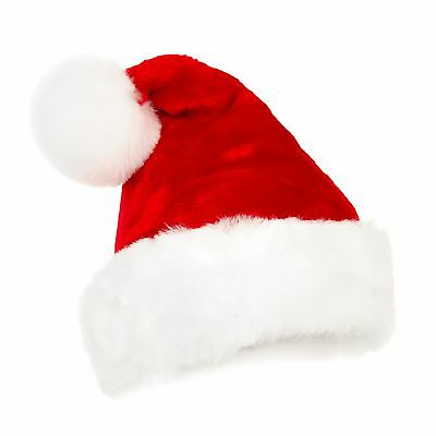 Christmas Party Santa Claus Dress Red Plush Hat Cap Xmas Headgear Costume Gift