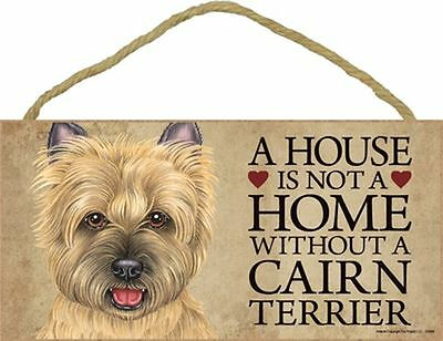 A House Is Not A Home CAIRN TERRIER Tan Dog 5x10 Wood SIGN Plaque USA Made