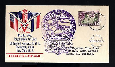 6504-CURAÇAO-AIRMAIL CENSOR COVER to MIAMI (usa) 1943.WWII.BRIEF.Aerien.KLM.