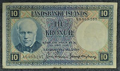 1928 Iceland 10 Kronur Landsbanki Islands Paper Currency