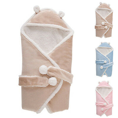 New Baby Swaddle Infant Sleep Sack Comfy Fleece Wrap Blanket Hooded Sleeping Bag