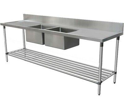 1900x600mm COMMERCIAL DOUBLE MIDDLE BOWL KITCHEN SINK STAINLESS STEEL BENCH E0