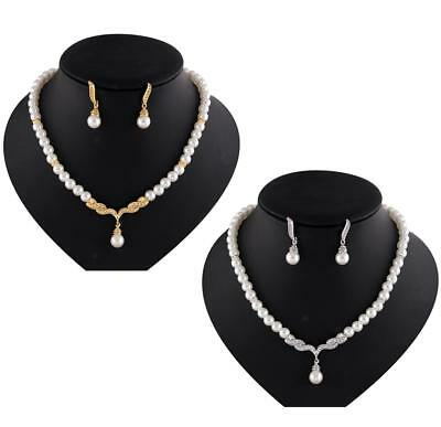 Wedding Bridal Fashion White Pearl & Rhinestone Necklace and Earring Jewelry Set