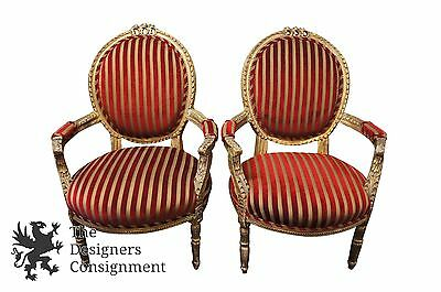 Antique Baroque Style Rococo Balloon Back Arm Chairs Striped Louis XV Fauteuil