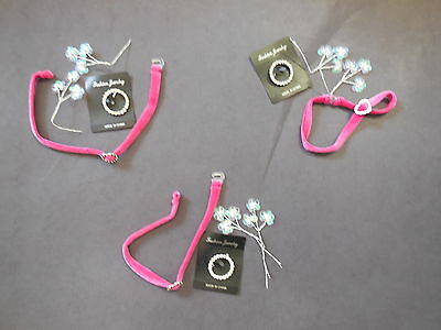 NEW Lot of 3 Accessory Pkts Raspberry Choker Pearl Sequin Sprays Rhinestone Pin