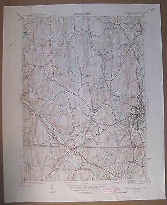 "1945 War Dept Map MA. WEBSTER QUAD Geological Survey 17x21"" (Thompson CT, etc)"