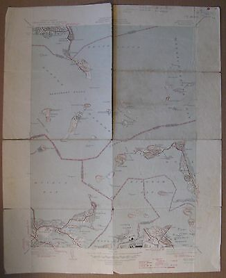 "1946 Map MA. HULL QUAD Geological Survey 17X21"" (Hingham, Quincy, etc)"