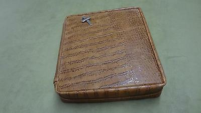 Crimson Truth Handcrafted Genuine Leather Bible Cover brown alligator skin style