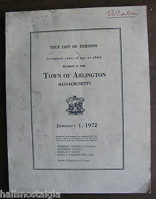Town of Arlington Ma 1972 Registered Voters by Precinct - Soft Cover Book