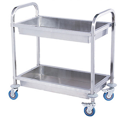 LARGE 2 TIER STAINLESS STEEL KITCHEN DINING CLEARING TROLLEY CART 75x40x83cm E0