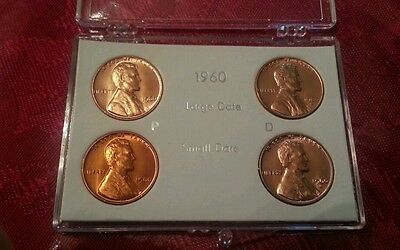 1960-P 1960-D Small Large Date Lincoln Penny Cent Set - Gem Bu!!!