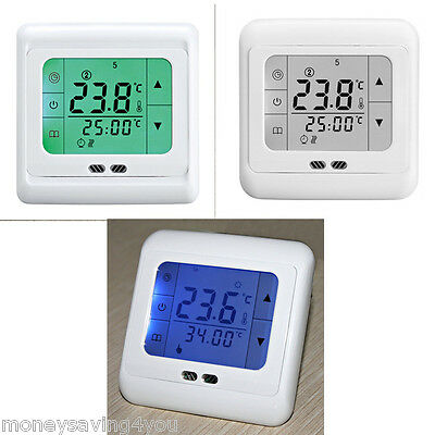 1x Electric Programmable LCD Touch Screen Underfloor Room Heating Thermostat UK