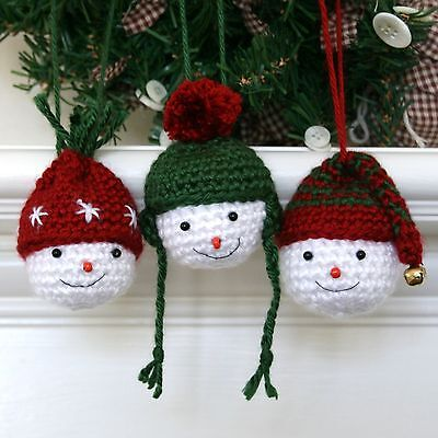 Christmas Holiday Snowman Crochet Ornament Kit makes 3