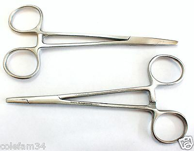 "New Lot Of 2 Straight 5"" Hemostat Forceps Locking Clamps Stainless Steel"