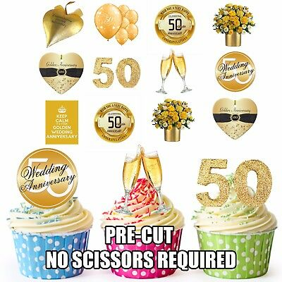 Golden / 50th Wedding Anniversary Party Pack 36 Edible Cake Toppers Decorations