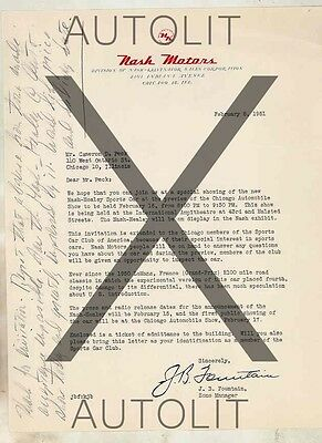 1951 Nash Healey Factory Letter To Cameron Peck Autograph Historical wv4138