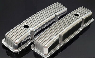 Sbc Sb Chevy 350 383 Short Retro Style Finned Valve Covers Aluminum # S-6186