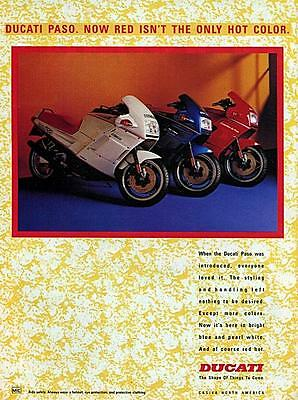"""1988 Ducati Paso Motorcycle """"The Only Hot Color"""" Original Color Ad"""