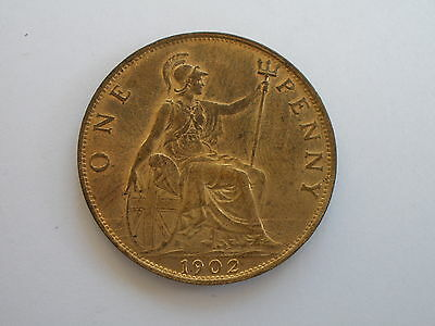 1902 Edward Vii Penny - Uncirculated With Lots Of Lustre