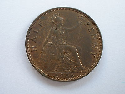 1936 George V Halfpenny - Uncirculated With Lustre  - Uk Post Free