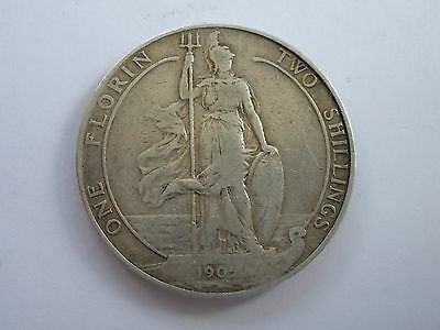 1905 Edward Vii Silver Florin - Good Fine - Scarce Date