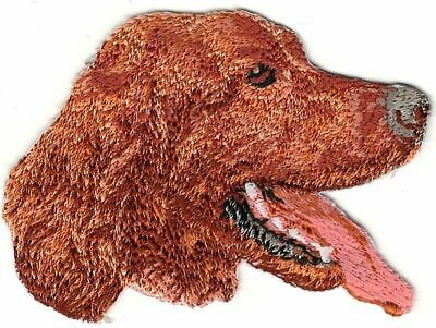 """2 1/4""""x2 7/8"""" Irish Red Setter Head Portrait Dog Breed Embroidery Patch"""