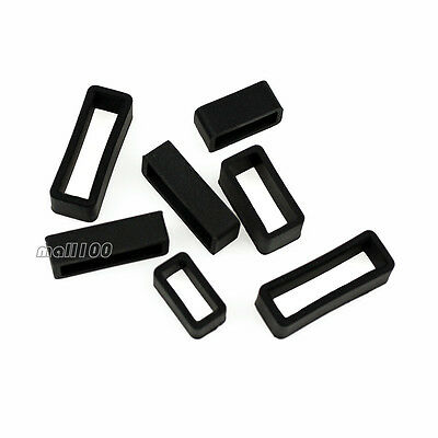 3PCS Silicon Rubber Strap Retaining Ring Loop Hoop Keeper Black White 12 ~ 24 mm