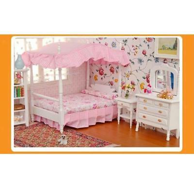 1/12 Miniature Canopy Bed Dresser Table Nightstand Dolls House Bedroom Furniture