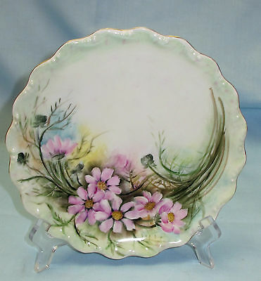 Vintage Limoges Hand Painted Floral Cabinet Plate