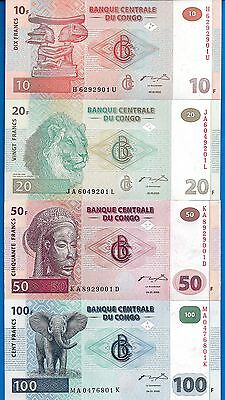 Congo SET #1 P-91,P-92,P-93,P-94 Year 2000-2003 Uncirculated Banknote Africa