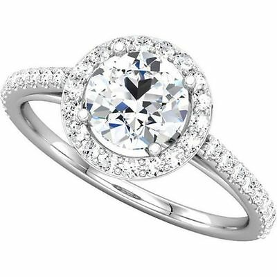1.88 Ct  Forever Brilliant Moissanite Halo Engagement Ring With Diamonds 14k