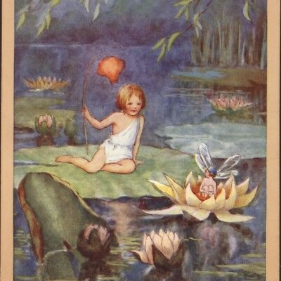 """voyage Of Discovery"" Fairy Lily Pad Boats,lantern,joyce Plumstead,old Postcard"