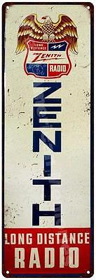 Zenith Long Distance Radio Vintage Reproduction Metal Sign 6x18 6180386