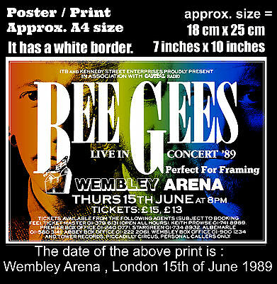 Bee Gees live concert Wembley Arena London 15th June 1989 A4 size poster print