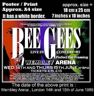 Bee Gees live concerts Wembley Arena London 14 15 June 1989 A4 size poster print