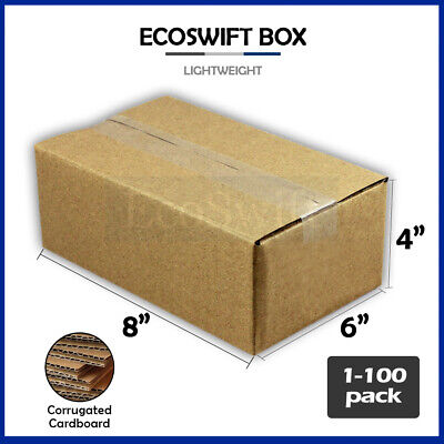 "1-100 8x6x4 ""EcoSwift"" Cardboard Packing Mailing Shipping Corrugated Box Cartons"