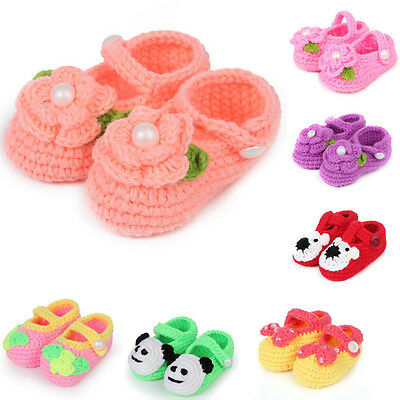 Baby Girls Cute Crib Crochet Shoes Casual Handmade Knit Rose Sock Infant Shoes