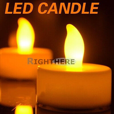 24 X Yellow TEA Light Flameless Flickering Candles Wedding LED Candle Party AU