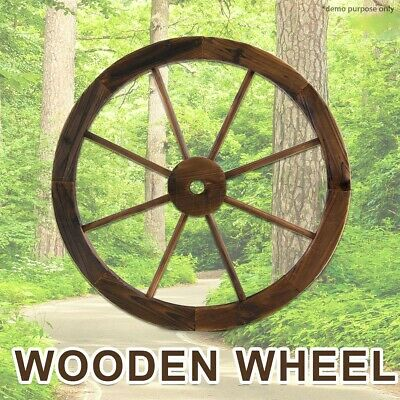 Large Wooden Wheel Rustic Garden Decor Feature Outdoor Wagon New