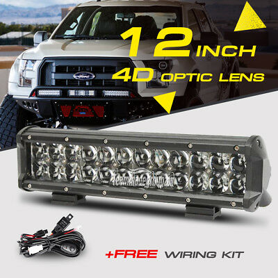 "12"" 168W CREE LED Work Light Bar Offroad Fog Lamp Spot Flood Combo ATV 4WD Truck"